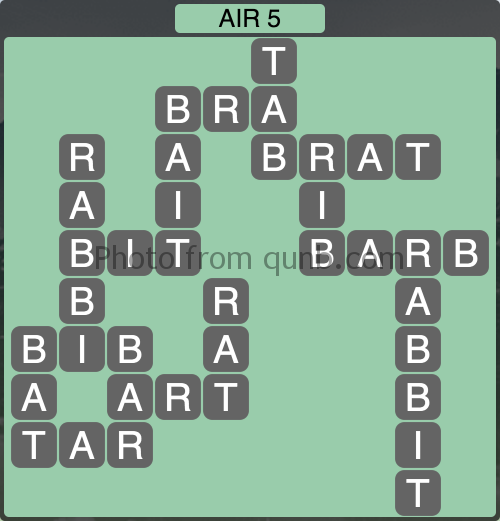 Wordscapes Air 5 (Level 1013) Answers