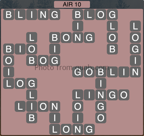 Wordscapes Air 10 (Level 1018) Answers