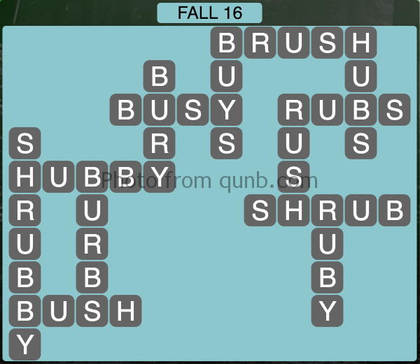 Wordscapes Fall 16 (Level 1088) Answers