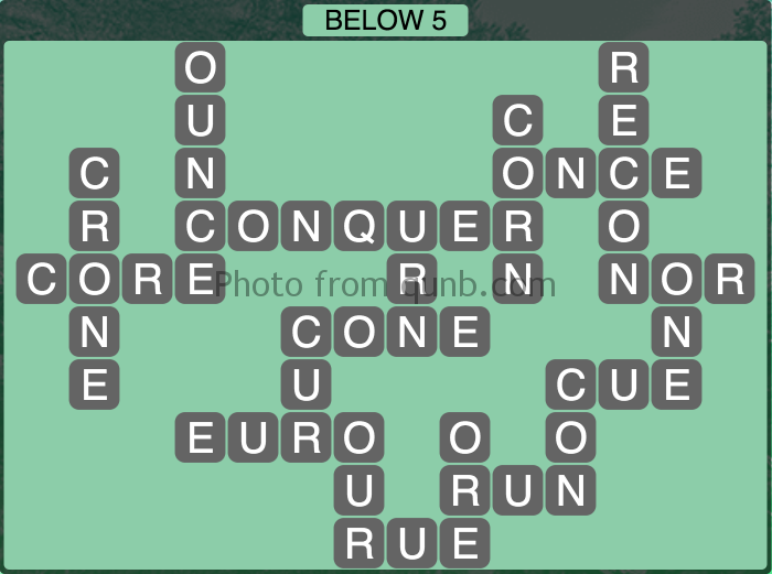 Wordscapes Below 5 (Level 1093) Answers