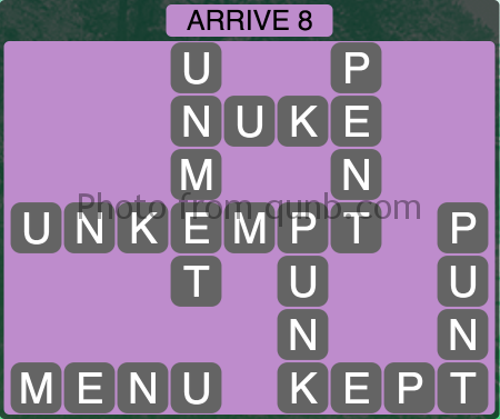 Wordscapes Arrive 8 (Level 1112) Answers
