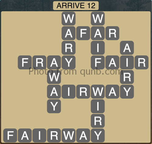 Wordscapes Arrive 12 (Level 1116) Answers