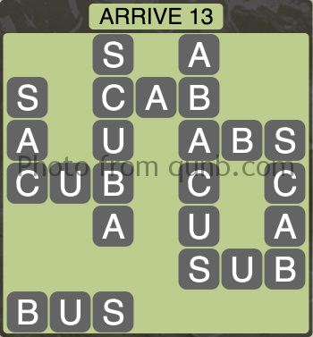 Wordscapes Arrive 13 (Level 1117) Answers
