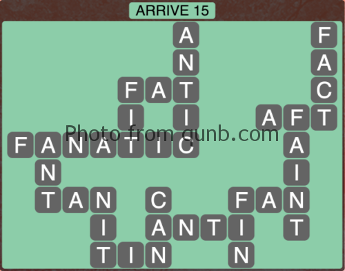 Wordscapes Arrive 15 (Level 1119) Answers
