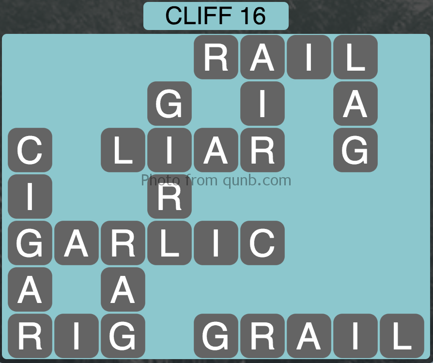 Wordscapes Level 144 (Cliff 16) Answer