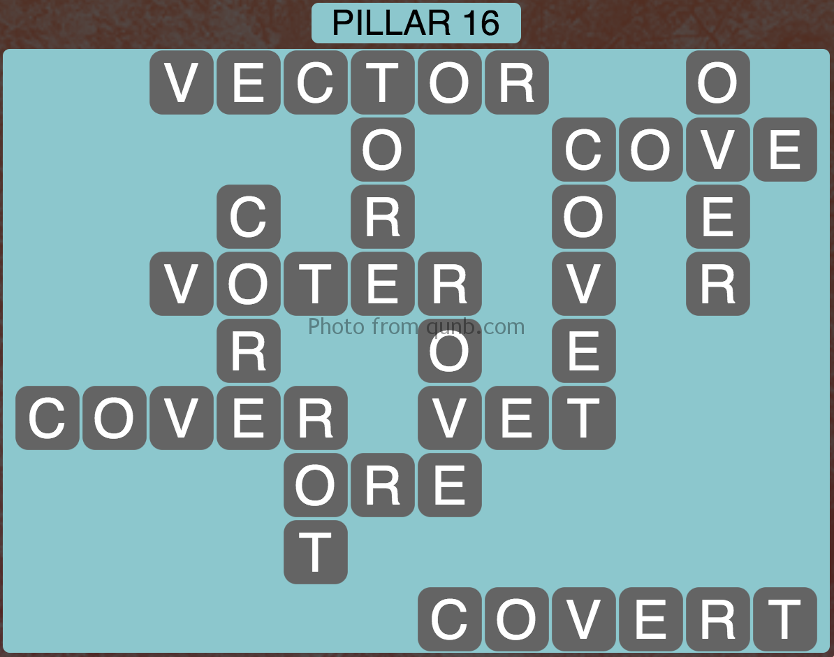 Wordscapes Level 160 (Pillar 16) Answer