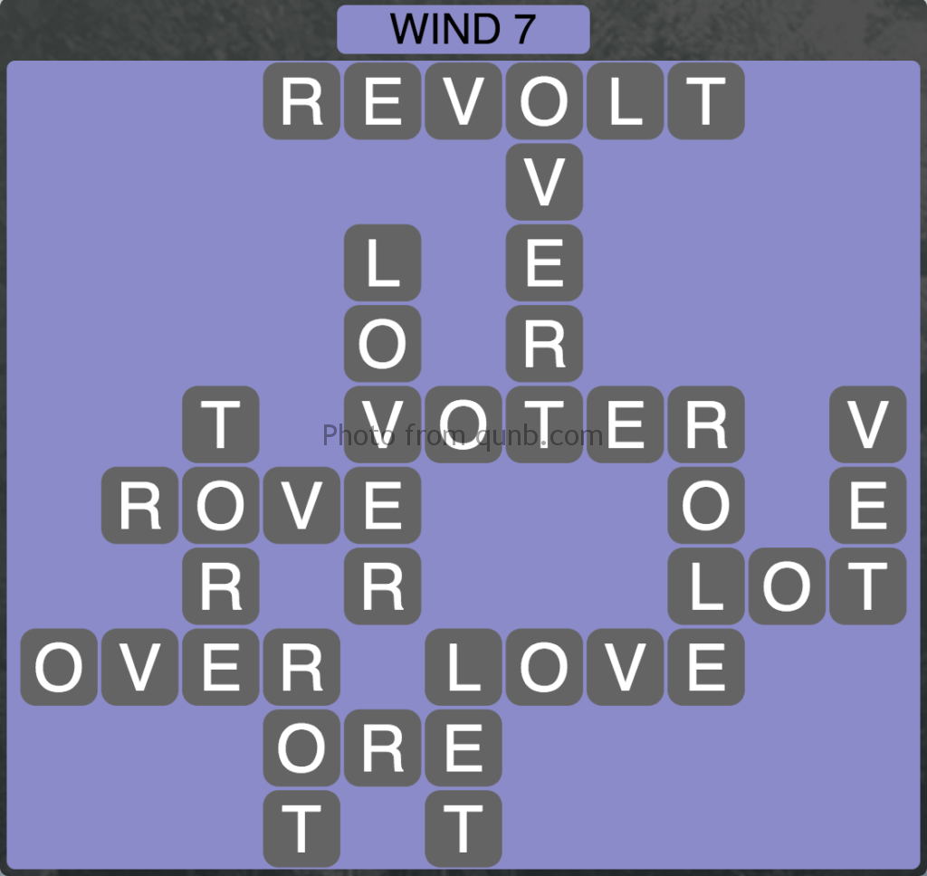 Wordscapes Level 167 (Wind 7) Answer