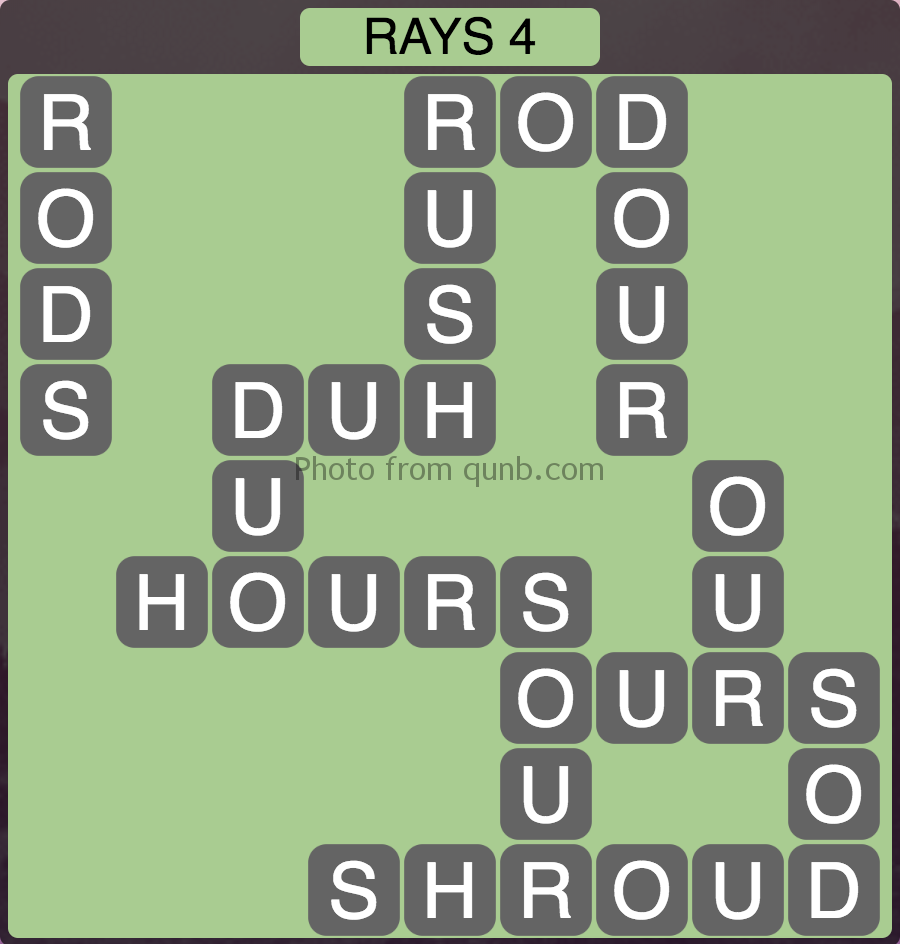 Wordscapes Level 180 (Rays 4) Answer