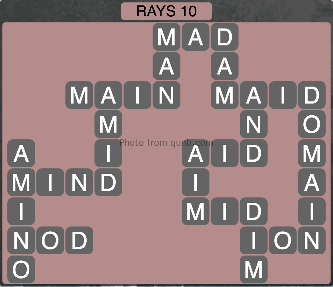 Wordscapes Level 186 (Rays 10) Answer