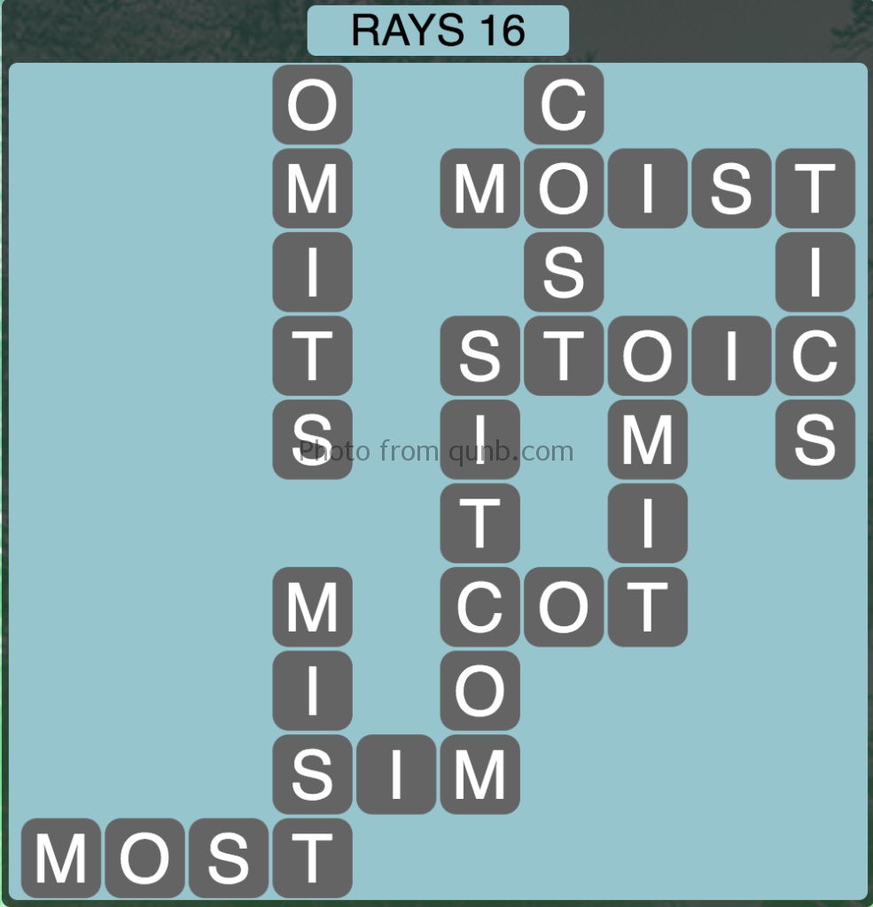Wordscapes Level 192 (Rays 16) Answer