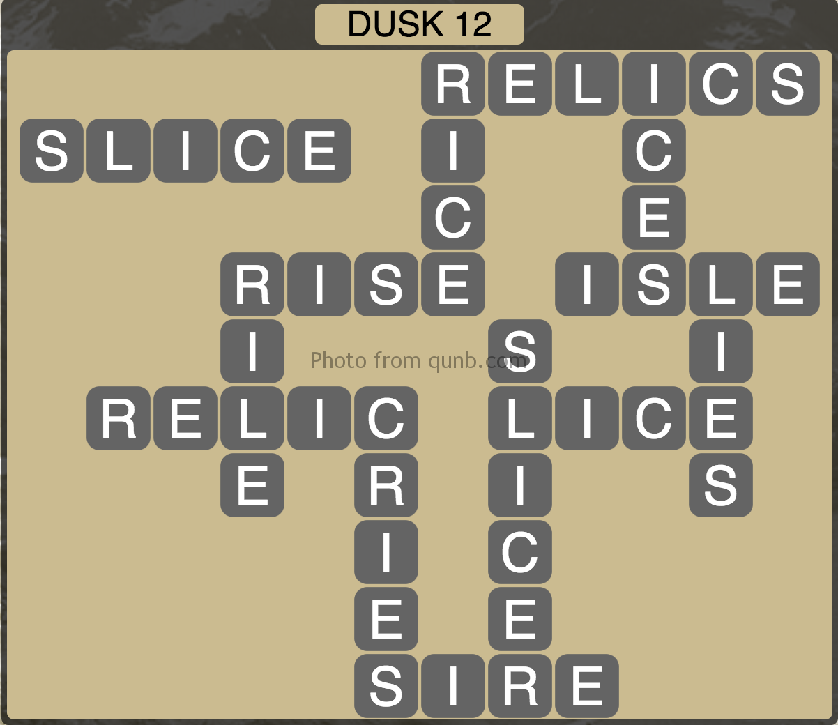 Wordscapes Level 204 (Dusk 12) Answer