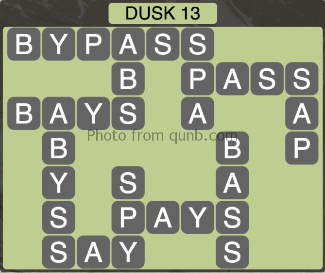 Wordscapes Level 205 (Dusk 13) Answer