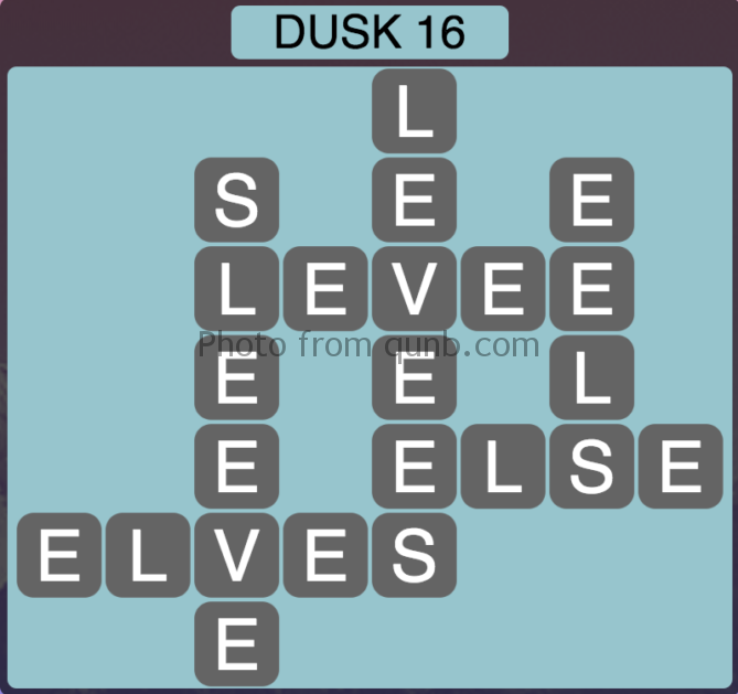 Wordscapes Level 208 (Dusk 16) Answer