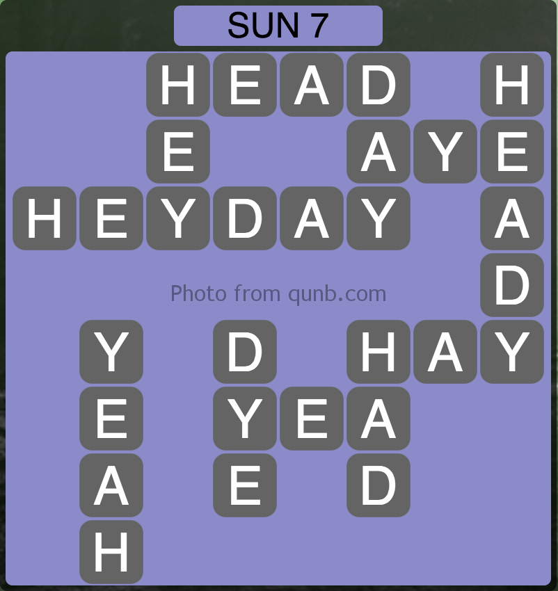 Wordscapes Level 231 (Sun 7) Answer