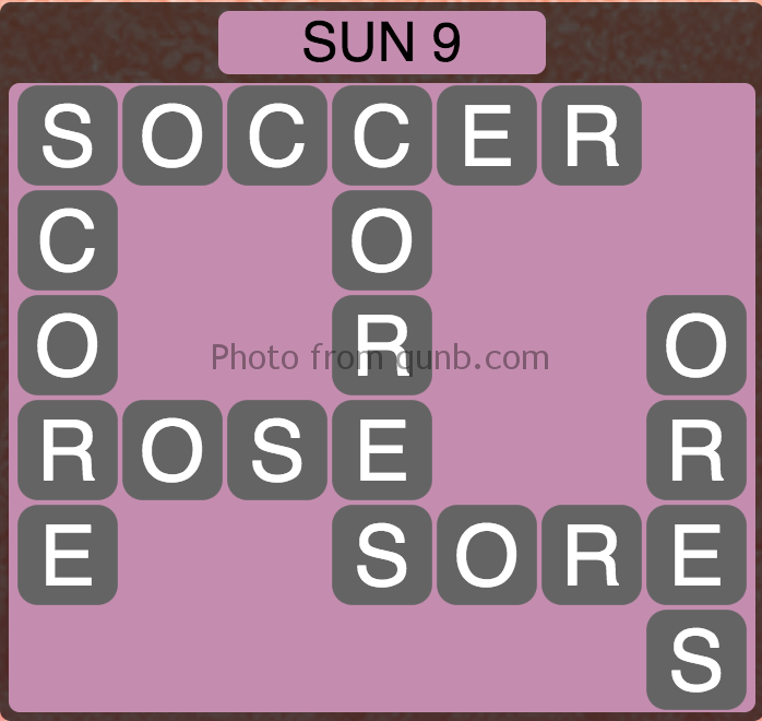 Wordscapes Level 233 (Sun 9) Answer