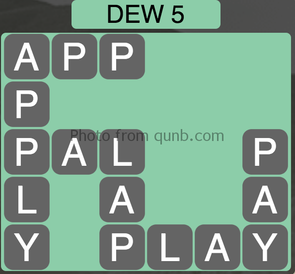 Wordscapes Level 25 (Dew 5) Answer
