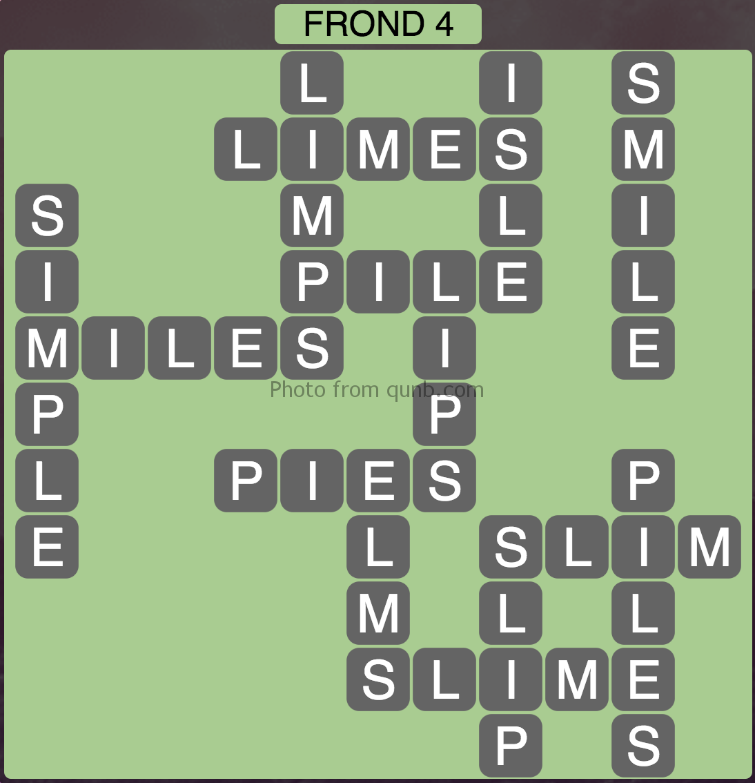 Wordscapes Frond 4 (Level 260) Answers