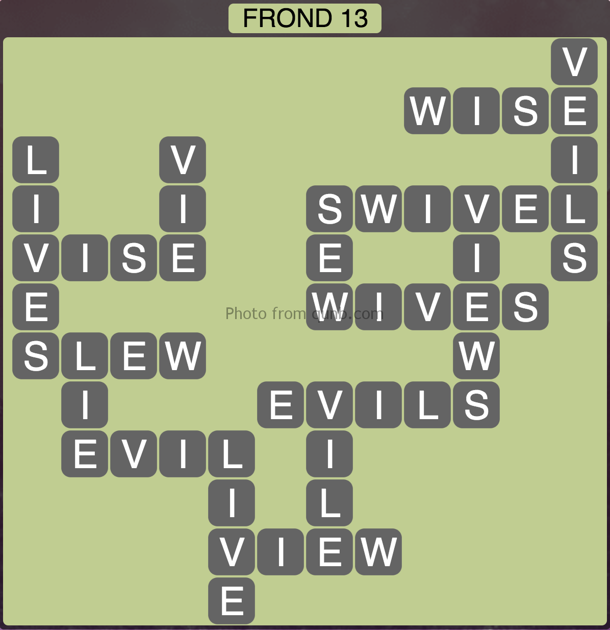 Wordscapes Frond 13 (Level 269) Answers