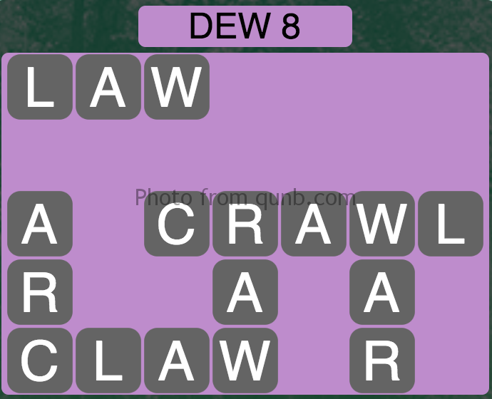 Wordscapes Level 28 (Dew 8) Answer
