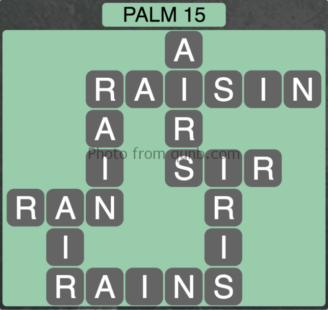 Wordscapes Palm 15 (Level 287) Answers
