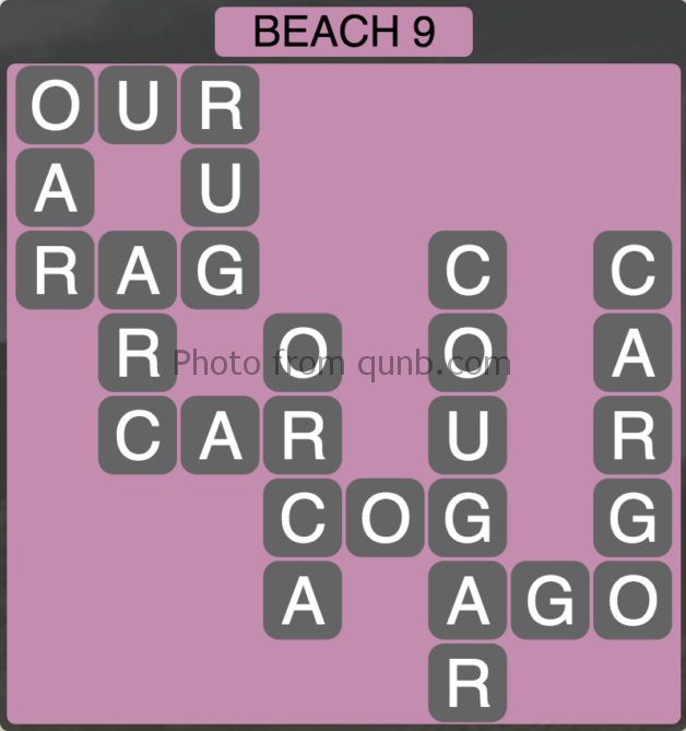 Wordscapes Beach 9 (Level 297) Answers