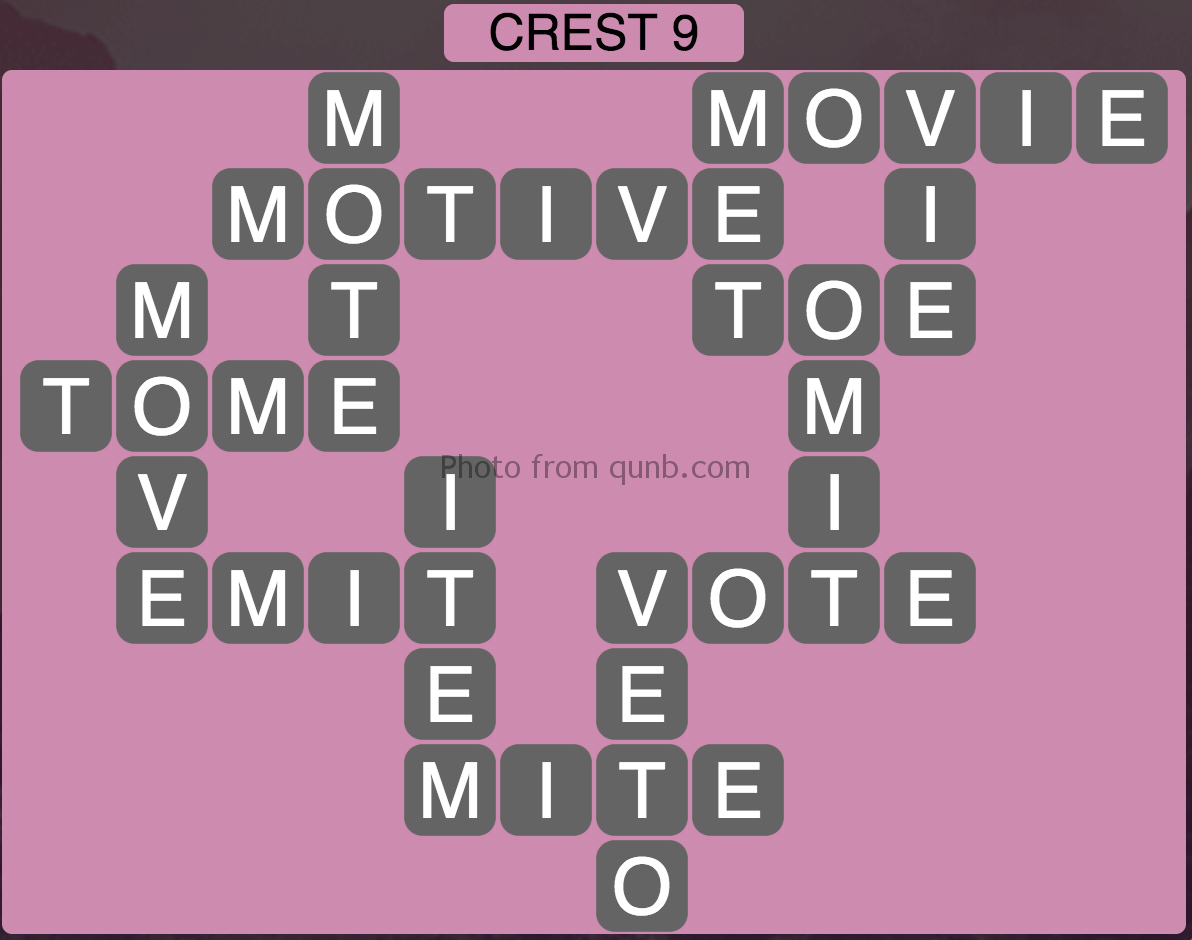 Wordscapes Crest 9 (Level 329) Answers
