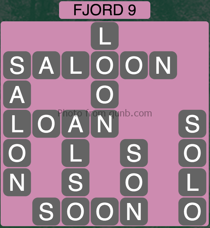 Wordscapes Fjord 9 (Level 345) Answers