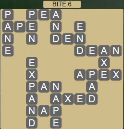 Wordscapes Bite 6 (Level 422) Answers
