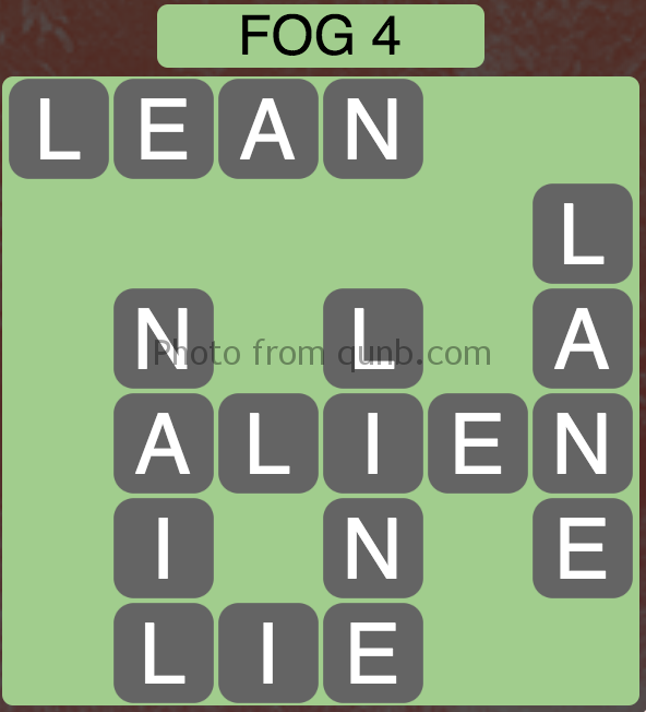 Wordscapes Level 52 (Fog 4) Answer