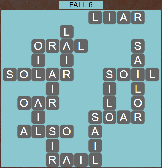 Wordscapes Fall 6 (Level 566) Answers