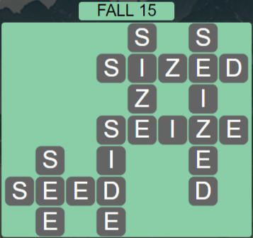 Wordscapes Fall 15 (Level 575) Answers