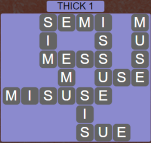 Wordscapes Thick 1 (Level 657) Answers