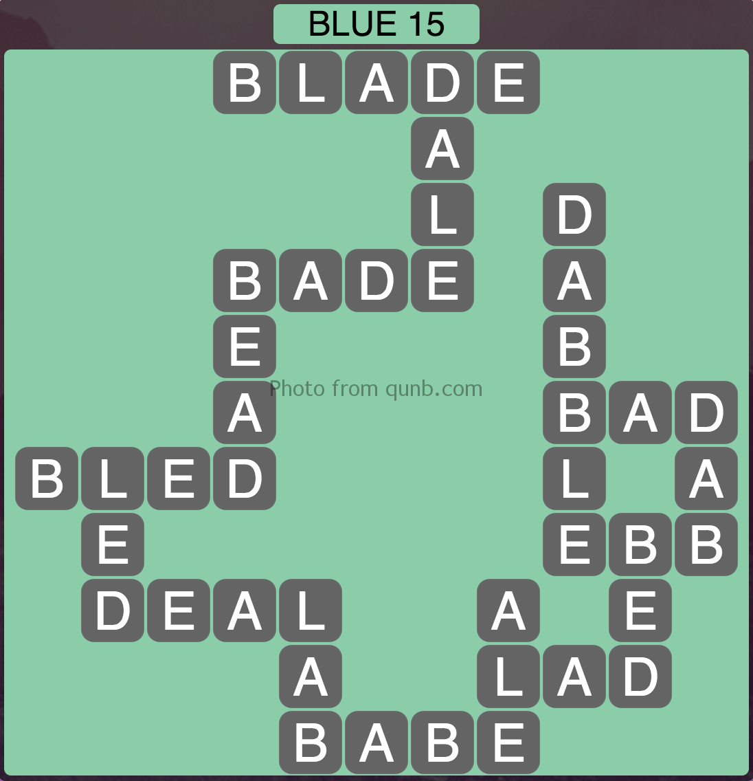 Wordscapes Blue 15 (Level 863) Answers