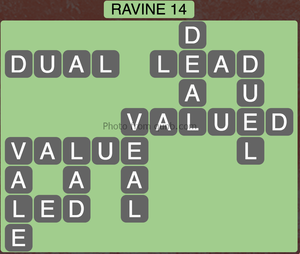 Wordscapes Level 94 (Ravine 14) Answer