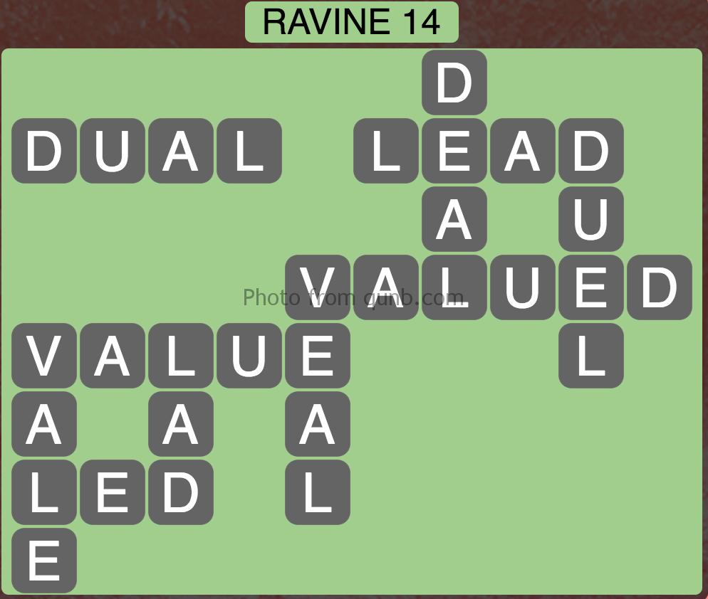 Wordscapes Level 94 (Ravine 14) Answer