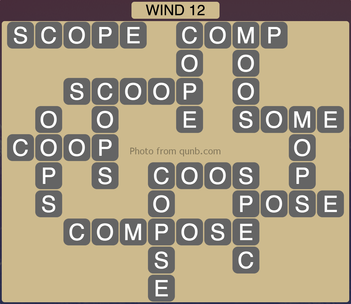 Wordscapes Wind 12 (Level 940) Answers