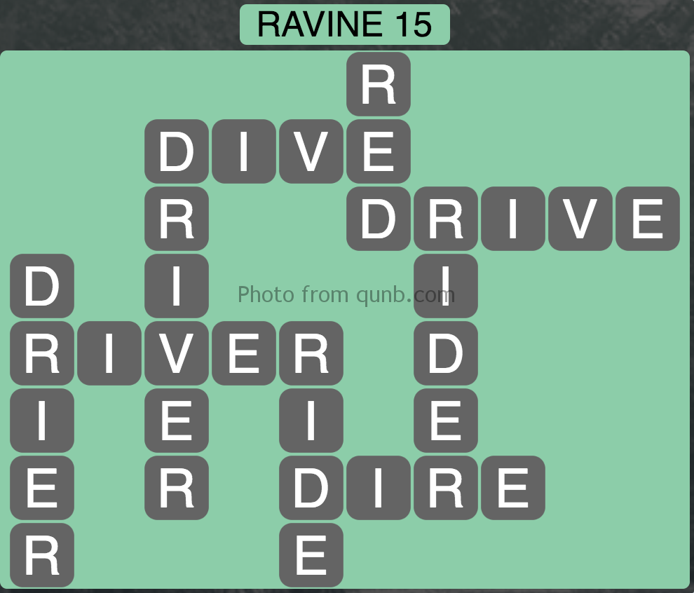 Wordscapes Level 95 (Ravine 15) Answer