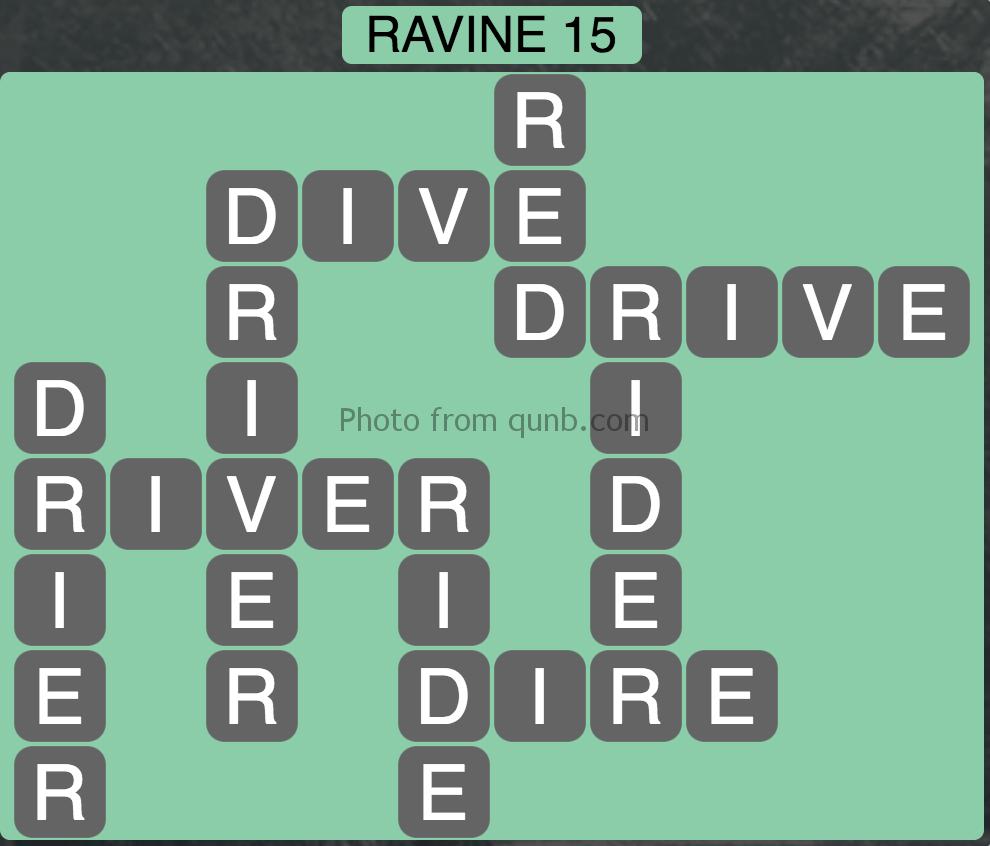 Wordscapes Level 95 (Ravine 15) Answer