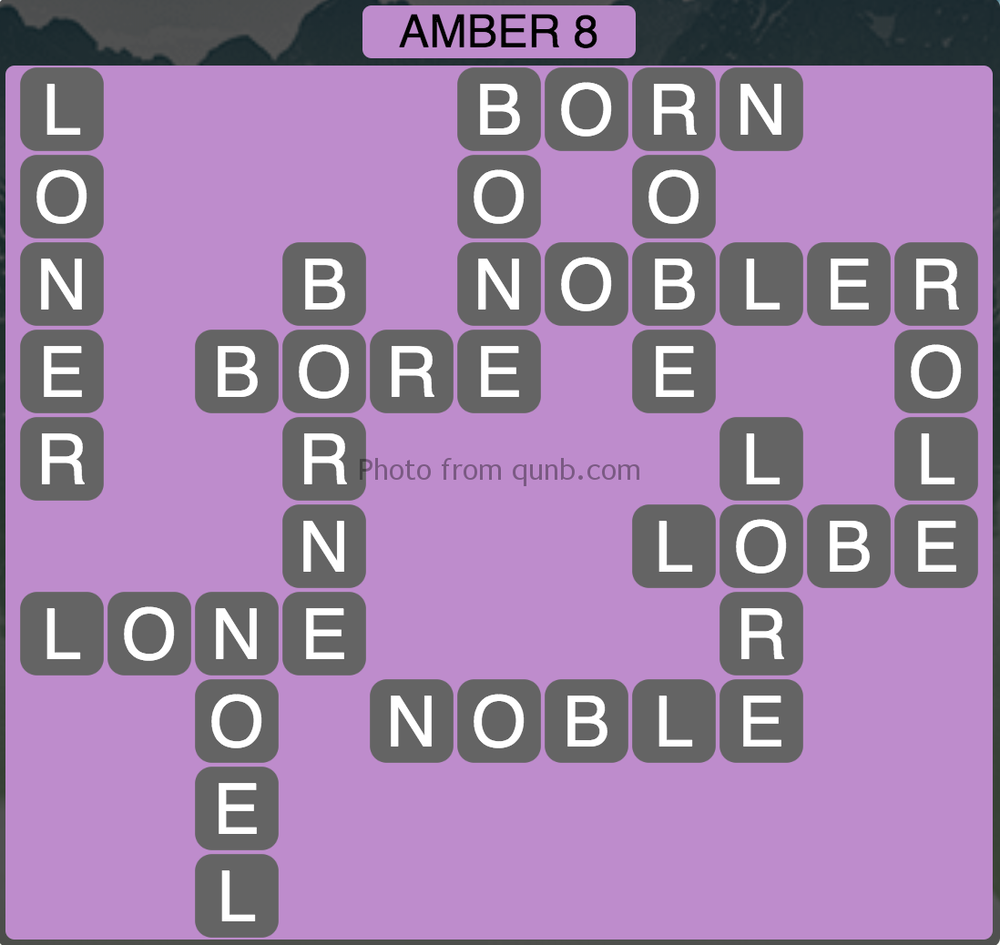Wordscapes Amber 8 (Level 952) Answers