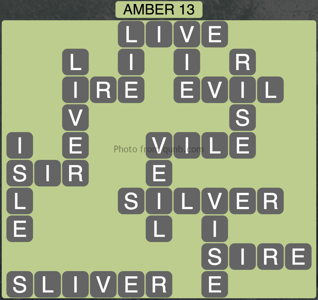Wordscapes Amber 13 (Level 957) Answers