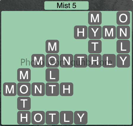 Wordscapes Mist 5 (Level 1125) Answers