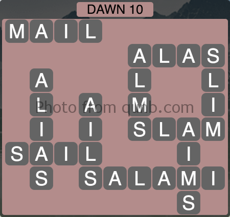 Wordscapes Dawn 10 (Level 1162) Answers