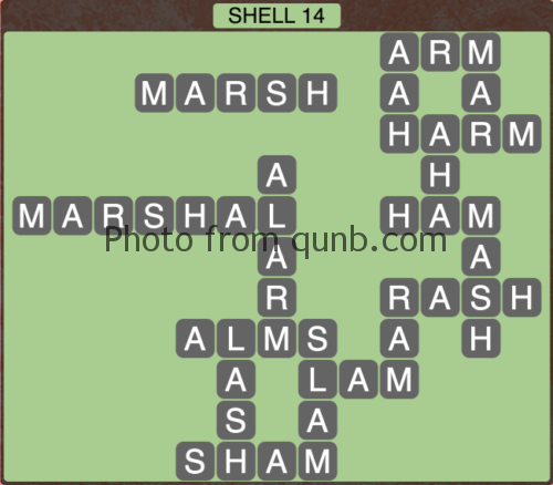 Wordscapes Shell 14 (Level 1230) Answers