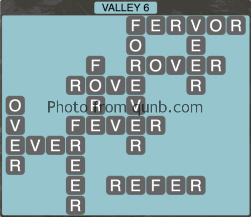 Wordscapes Valley 6 (Level 1302) Answers