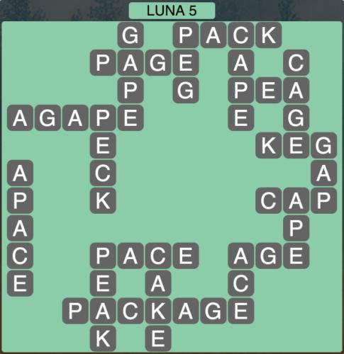 Wordscapes Luna 5 (Level 1381) Answers