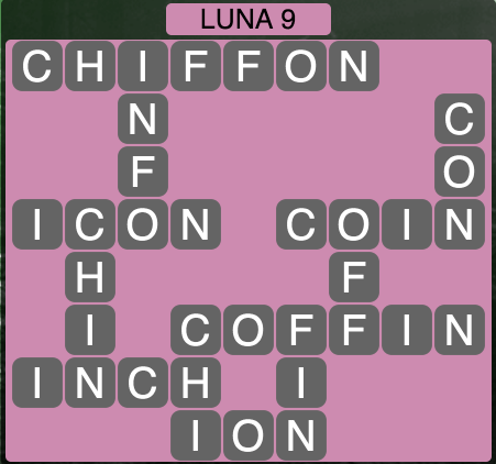 Wordscapes Luna 9 (Level 1385) Answers