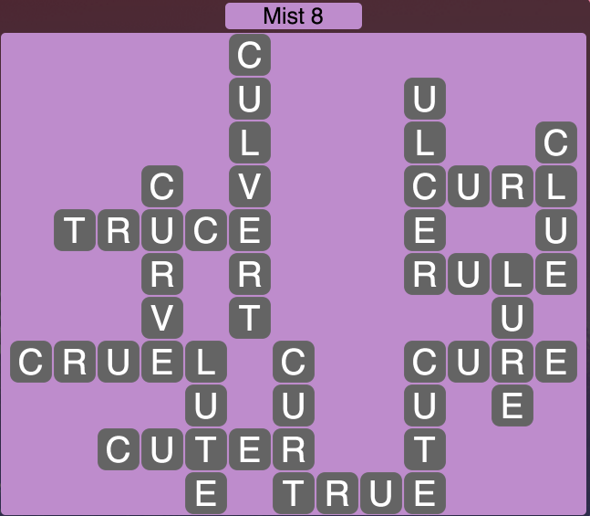 Wordscapes Mist 8 - Level 1688 Answers