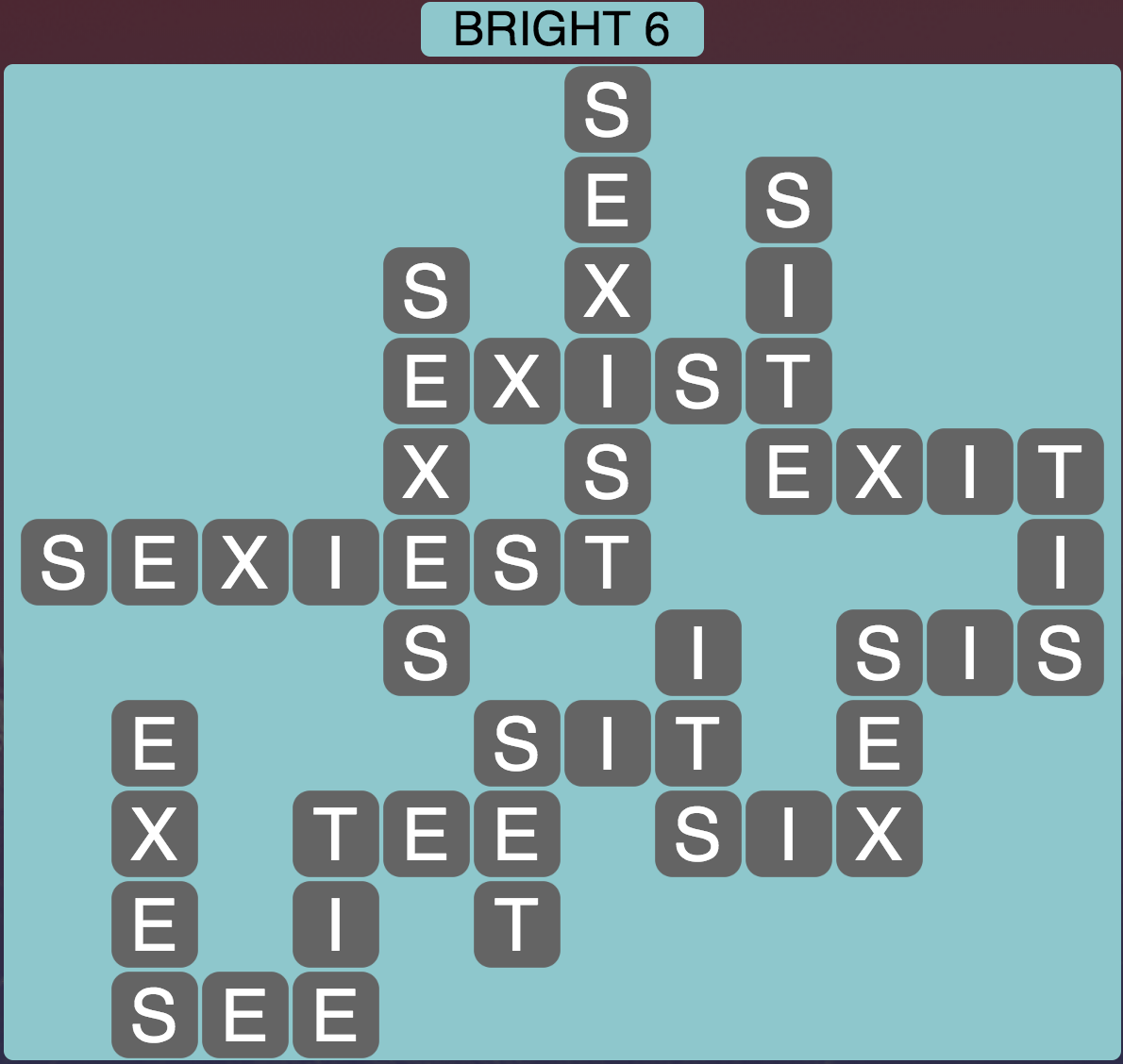 Wordscapes Bright 6 - Level 1702 Answer