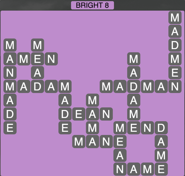 Wordscapes Bright 8 - Level 1704 Answer