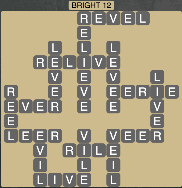 Wordscapes Bright 12 - Level 1708 Answer